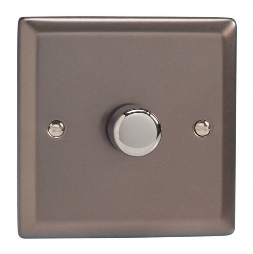 Varilight JRP401 Classic Pewter 1 Gang 2-Way Push-On/Off LED Dimmer 0-120W V-Pro
